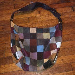 Lucky Brand suede patchwork hobo Bucket bag purse